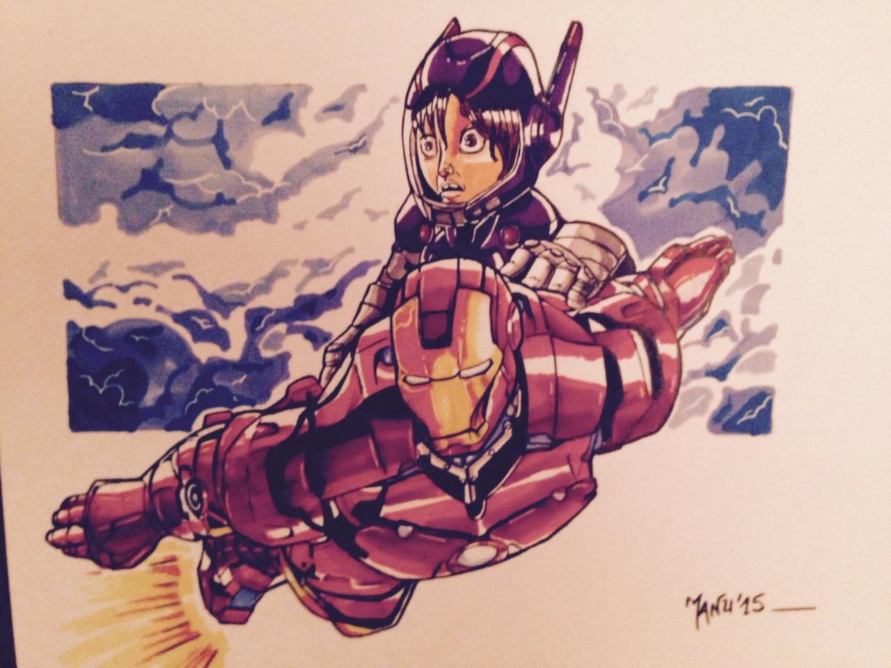 Hiro a troqué Baymax par Iron-Man mais ne semble pas très rassuré