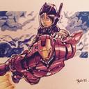 """Hiro du nouveau Disney """"les nouveaux héros"""" monté sur le dos de Iron Man: pas très rassuré!!"""