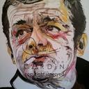 Le beau Serge : peinture à l'huile sur toile artiste coton L 80 X H 100 cm