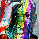 Pablo : Peinture infographique imprimée sur plaque PVC appliquée sur toile D'artiste coton L 73 x H 116 cm