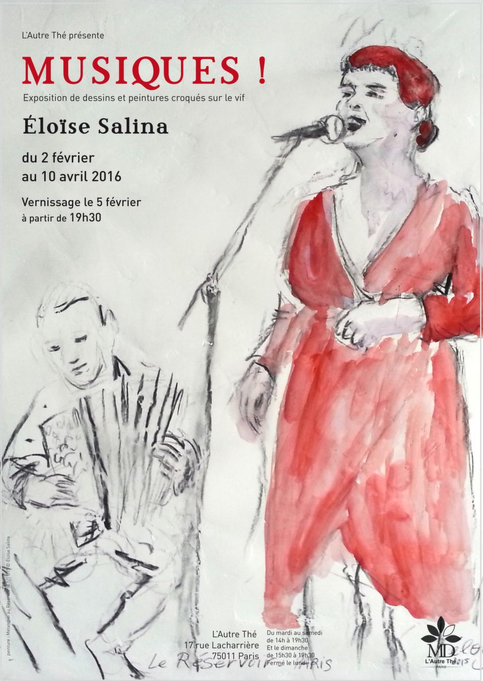 Voici l'affiche de ma prochaine exposition, qui aura lieu du 2 février au 10 avril 2016, à la galerie de L'Autre Thé, 17 rue Lacharrière, Paris 11°.<br />Vous pourrez y découvrir mes dessins et peintures croqués sur le vif dans les répétitions et concerts auxquels j'ai assisté en 2015.