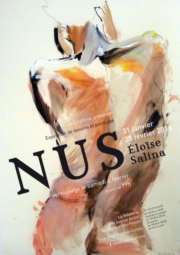 Exposition de mes peintures de Nus à la Gelateria, restaurant-galerie, à La Varenne.