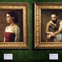 """Portraits de marins et de courtisanes - Indication : la structure de base de chaque photo n'est PAS un montage (cadre, cartel, """"mur"""" vert, décors etc...)"""