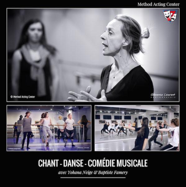 Chant - Danse - Comédie Musicale<br />Method Acting Center - Auditions le 25/09<br /><br />avec Yohana Neige & Baptiste Famery.<br /><br />Formations à l'année, cours hebdomadaires en semaine<br />aux Studio HF, 5 rue Dareau, 14e arr. Métro Saint Jacques<br />& Studio Bleu, 14 boulevard Poissonnière, 9e arr. Métro Grands Boulevards.<br /><br />CONTENU des FORMATIONS<br />- Voix, Chant & Interprétation : Apprenez à libérer tout votre potentiel vocal !<br />Cette année, les cours de Chant seront répartis sur 3 niveaux : Débutants, Intermédiaires et Avancés.<br />- Atelier Danse : Cours de Jazz, Street, Hip-hop… Autant de styles de danse auxquels l'Acteur peut être confronté lors de ses tournages et spectacles. Objectif : être à l'aise avec son premier outil de jeu : son corps. Niveau : Intermédiaire.<br />- Comédie Musicale : Initiation à la Comédie Musicale entre Acting, Chant & Danse. Pour cette formation, il est conseillé de faire également Chant et Danse en parallèle.<br /><br />Portes Ouvertes les 11-12-13 Septembre - Cours d'essais gratuits :<br />https://www.methodacting.fr/portes-ouvertes-septembre-2020/<br /><br />AUDITIONS<br />- Date des auditions : Vendredi 25/09 à partir de 11h. Au 93 avenue d'Italie, 75013 Paris à Method Acting Center.<br />Vous devrez au préalable envoyer votre démo chant et/ou danse selon les disciplines que vous souhaitez prendre, ainsi que votre dossier de candidature disponible ici : https://www.methodacting.fr/admissions/ à l'adresse contact@methodacting.fr. Un horaire de passage vous sera alors communiqué. Le jour de l'audition, les coaches vous demanderont de présenter ce même travail devant eux. Le résultat de votre audition vous sera communiqué par mail.<br /><br />TARIFS & INSCRIPTIONS :<br />- 85€/ mois pour l'Atelier Danse<br />- 130€/ mois pour Voix, Chant & Interprétation et prochainement Ensemble Vocal<br />- 150€/ mois pour Comédie Musicale<br />- Frais d'inscription : 120€<br />- L'inscription aux cours est d'une année 