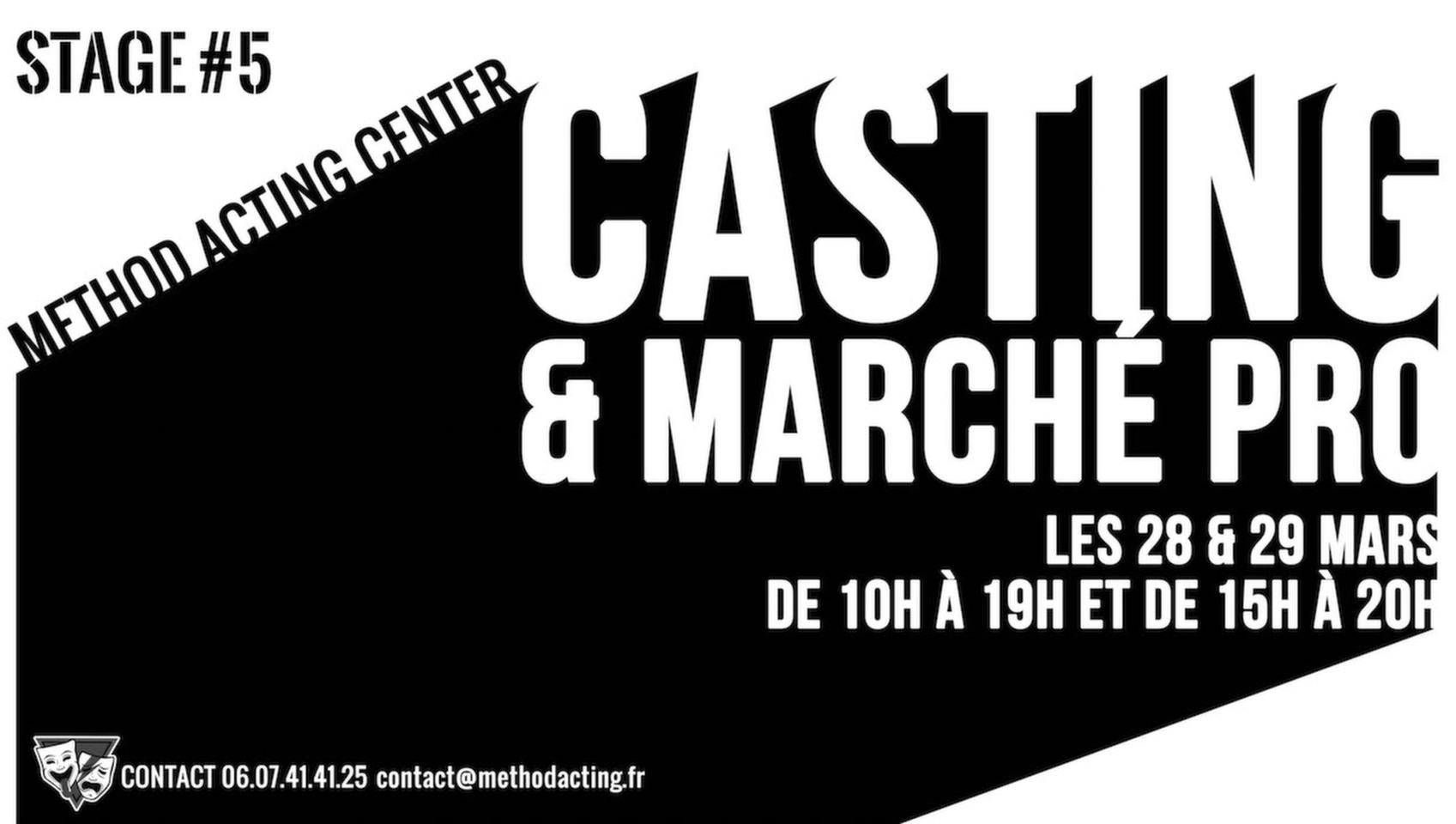 Stage 5 Casting et Marché Professionnel <br />Method Acting Center<br /><br />Une hésitation lors d'un casting ou d'une audition ?<br />Vous vous demandez comment démarcher le milieu professionnel du cinéma ?<br />Vous avez besoin d'aide et des conseils avisés de professionnels ?<br /><br />Pour répondre à toutes vos questions, Method Acting Center vous propose le stage weekend : Casting & Marché Professionnel.<br /><br />Stage weekend du 28 &29 Mars 2020<br />de10h à 19h le samedi et de 15h à 20h le dimanche<br />93 Avenue d'Italie, Paris 13e<br />avec Maya Serrulla (Directrice de Casting Cinéma) & David Barrouk (Fondateur de Method Acting Center, Scénariste, Réalisateur et Producteur).<br /><br />Programme du SAMEDI<br />- Rencontre et mise en situation de casting avec Maya Serrulla, Directrice de Casting Cinéma<br />- Débrief des prestations avec chaque stagiaire<br />- Au cours de la journée, vous serez libres de lui poser toutes vos éventuelles questions relatives aux castings<br /><br />Programme du DIMANCHE<br />Table ronde active et participative avec David Barrouk, autour de plusieurs sujets:<br />- Mieux comprendre le marché professionnel pour mieux l'aborder<br />- Casser les mythes du métier pour être véritablement entrepreneur de sa carrière<br />- Savoir comment démarcher, se positionner en tant qu'artiste<br />- Identifier les possibilités alternatives qu'offrent les nouvelles technologies et les nouveaux médias<br /><br />INFOS & Réservation<br />- De 8 à 16 personnes<br />- 160€ pour un stage weekend<br />- Forfaits à partir de 3/6/9 stages weekend : 10% de remise / 15% de remise / 20% de remise, découvrez notre planning de stages 2019/2020<br />- Formations éligibles à l'AFDAS, aux OPCA, et Pôle emploi<br />- Un acompte de 30% vous sera demandé au moment de la réservation<br /><br />INSCRIPTIONS en ligne<br />https://www.methodacting.fr/stage-5-casting-marche-professionnel/<br />contact@methodacting.fr<br />06 07 41 41 25