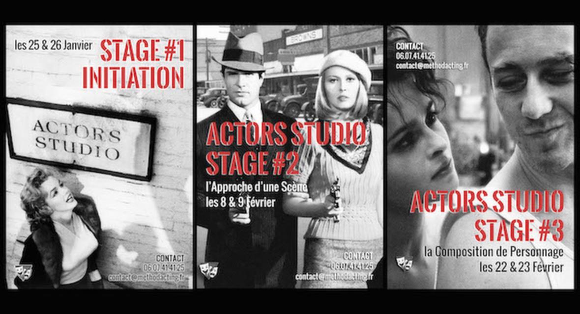 Stages no 1, 2, 3, 4, 5, 6 Actors Studio<br />Method Acting Center Paris<br />Les bases de la méthode<br /><br />Method Acting Center vous propose un programme de 6 stages week-end consacrés aux bases de la célèbre «méthode». Que vous soyez débutants ou confirmés, grâce à ces initiations courtes mais intensives, vous explorez les nombreux «outils» de la méthode. Des outils d'acting simples, concrets, directement applicables dans vos castings et tournages !<br /><br />PROGRAMME DES 6 STAGES de BASE : <br />Stage ACTORS STUDIO #1 : Initiation, weekend du25 & 26 Janvier<br />Stage ACTORS STUDIO #2 : Approche d'une Scène, weekend du 8 & 9 Février<br />Stage ACTORS STUDIO #3 : Composition du Personnage, weekend du 18 & 19 Janvier + 22 & 23 Février<br />Stage ACTORS STUDIO #4 : Face Caméra, weekend du 29 Février & 1er Mars<br />Stage ACTORS STUDIO #5 : Casting & Marché Professionnel, weekend du 28 & 29 Mars<br />Stage ACTORS STUDIO #6 : Acting in English, weekend du 2 & 3 Mai<br /><br />Vous souhaitez en savoir + sur le déroulé des stages ?<br />https://www.methodacting.fr/stages-actors-studio-1-2-3-4-5-6/<br /><br />Découvrez également nos autres stages thématiques :<br />https://www.methodacting.fr/stages/<br /><br />INFOS PRATIQUES : <br />- De 6 à 18 personnes<br />- 160€ pour 1 stage weekend<br />- 320€ pour 2 stages weekend<br />- Forfait 3 / 6 / 9 stages weekend *: 432€ / 816€ / 1152€, soit 10% / 15% / 20% de remise<br />- Formations éligibles à l'AFDAS, aux OPCA, et Pôle emploi (prévoir un délai de 3 à 6 semaines de traitement de dossier)<br />- * Un acompte de 30% vous sera demandé au moment de la réservation. Pour obtenir la réduction, il est impératif de réserver les stages groupés. Paiements possibles en plusieurs fois par chèques.<br /><br />CONTACT & RÉSERVATION : <br />https://www.methodacting.fr/stages-actors-studio-1-2-3-4-5-6/<br />06 07 41 41 25<br />contact@methodacting.fr