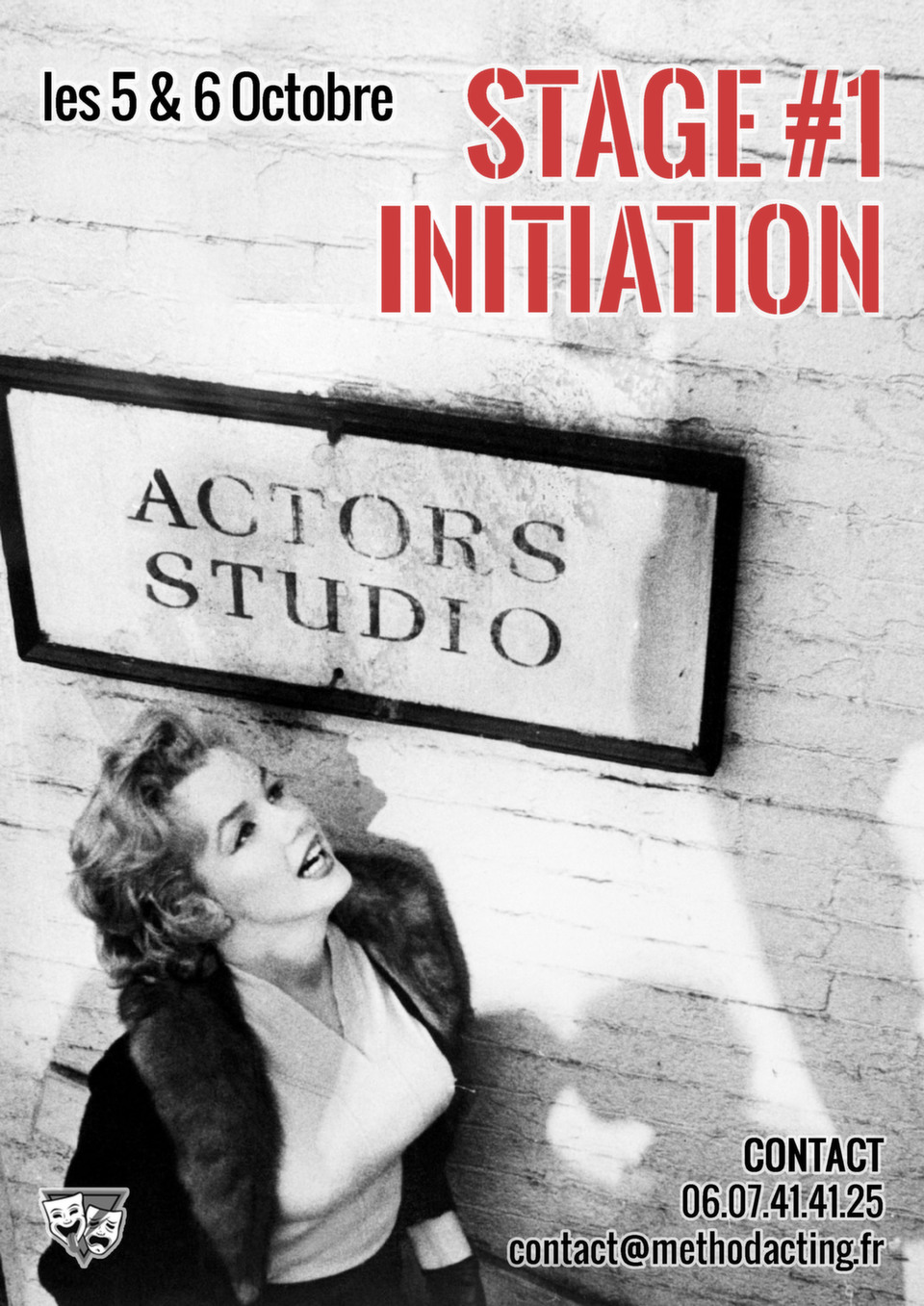 Stage 1 Initiation à l'Actors Studio<br />Method Acting Center<br /><br />WEEKEND du 5 & 6 Octobre 2019<br />de 15h30 à 19h30 le samedi & de 11h30 à 19h30 le dimanche,<br />au 93 Avenue d'Italie, Paris 13e<br />avec Ana SEKULIC<br /><br />Élaborée par Constantin Stanislavski puis popularisée par le légendaire Actors Studio de New-York, la méthode Actors Studio a littéralement révolutionné le monde de l'Acting.Il ne s'agit pas ici de vaguement copier la vie :<br />Il s'agit véritablement d'y créer la vie ! <br /><br />Method Acting Center vous propose de vous initier à cette célèbre «méthode Actors Studio» grâce à du travail sur les outils de base, des passages de mini-scènes et des exercices d'exploration/relaxation.<br />Un peu de théorie bien sûr mais surtout beaucoup de pratique !<br /><br />OBJECTIFS du Stage #1 INITIATION :<br />- Découvrir les bases de l'Actors Studio<br />- Appréhender et expérimenter le jeu réaliste/cinéma<br />- Développer l'écoute, l'imagination, la mémoire émotionnelle, l'aisance, le charisme<br />- Approfondir, aiguiser la concentration<br />- Apprendre à être à l'écoute de son partenaire<br />- Trouver les outils de relaxation pour s'échauffer avant, et déconnecter après une scène<br /><br />Suite à ce stage, il est conseillé de poursuivre avec : <br />Stage #2 : Approche d'une Scène, weekend du 23 & 24 Novembre<br />Stage #3 : Composition du Personnage, weekend du 18 & 19 Janvier<br />Stage #4 : Face Caméra, weekend du 22 & 23 Février<br />Stage #5 : Casting & Marché Professionnel, weekend du 28 & 29 Mars<br />Stage #6 : Acting in English, weekend du 2 & 3 Mai<br /><br />INFOS PRATIQUES : <br />- De 6 à 16 personnes<br />- 160€ pour 1 stage weekend<br />- 320€ pour 2 stages weekend<br />- Forfait 3 / 6 / 9 stages weekend *: 432€ / 816€ / 1152€, soit 10% / 15% / 20% de remise<br />- Formations éligibles à l'AFDAS, aux OPCA, et Pôle emploi (prévoir un délai de 3 à 6 semaines de traitement de dossier)<br />- * Un acompte de 30% vous sera 