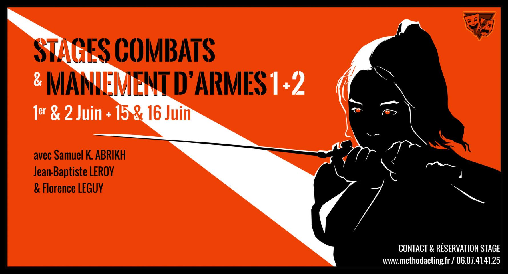 Stage Combats et Maniement d'armes 1 et 2<br />Method Acting Center, Stage complet sur 2 weekends<br /><br />WEEKENDS du 1er & 2 Juin 2019 + 15 & 16 Juin 2019<br />à Paris 1er, 17e et 10e<br />avec Samuel K. ABRIKH, Jean-Baptiste LEROY & Florence LEGUY<br /><br />Initiez-vous aux bases du combats à mains nues, au maniement d'armes et aux petites cascades. 2 weekends intensifs avec 3 experts du combat !<br /><br />Pour ce stage, une bonne forme physique est indispensable.<br /><br />OBJECTIFS de COMBATS & MANIEMENT D'ARMES 1<br />- Savoir se préparer physiquement avant un combat scénique<br />- Découvrir les bases du combat à mains nues, coups de poing avec des techniques de boxe anglaise et de Wing Chun, coups de pieds via le combat scénique<br />- Travailler des techniques de corps à corps, chutes liées au combat (étranglement, clefs de bras, mains, jambes, chevilles par des mouvements dérivés du catch)<br />- Travailler plusieurs situations de combats scéniques, enchaînement de coups, à deux ou à plusieurs<br />- Apprendre à s'approprier l'espace de la scène<br />- Comprendre et maîtriser ce qui va rendre une scène la plus réaliste et dynamique possible<br /><br />OBJECTIFS de COMBATS & MANIEMENT D'ARMES 2<br />- Retravailler l'échauffement avant un combat ou une cascade.<br />- Apprendre à manier des armes blanches et des armes à feu en toute sécurité et de façon réaliste<br />- Manier et se déplacer avec un couteau, une épée ou une canne dans un combat<br />- Découvrir comment manier un outil dangereux comme une extension de son corps<br />- Savoir comment utiliser au mieux l'espace de la scène<br />- Exercer l'acteur à « jongler » entre les cascades et son texte<br />- Comprendre comment l'action va définir le personnage<br /><br />INFOS PRATIQUES<br />- De 8 à 16 personnes<br />- 400€ pour le stage complet incluant les 2 weekends<br />- Un acompte de 30% vous sera demandé au moment de la réservation<br /><br />INSCRIPTIONS EN LIGNE<br />https://www.methodactin
