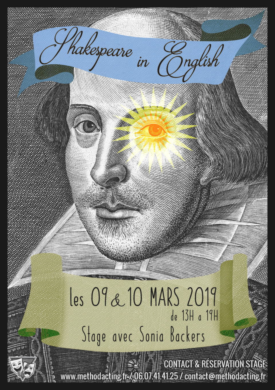 Stage Shakespeare & Actors Studio<br />Method Acting Center<br /><br />To be or not to be.<br /><br />L'écriture de Shakespeare englobe tous les aspects du travail de l'acteur. Method Acting Center propose un atelier pour maîtriser à la fois le langage spécifique de cet auteur, sa dimension humaine et l'intériorité de ses personnages.<br /><br />À travers des outils pragmatiques et concrets de la méthode, vous pourrez ainsi mieux aborder   les grands textes, les grands thèmes et les personnages de ces classiques. Et par ce travail, nous réaliserons l'évidence de l'indémodable modernité de Shakespeare.<br /><br />WEEKEND du 9 & 10 Mars 2019<br />de 13h à 19h,<br />au 93 Avenue d'Italie, Paris 13e<br />avec Sonia BACKERS<br /><br />OBJECTIFS du Stage SHAKESPEARE & ACTORS STUDIO<br />- Découvrir le langage de Shakespeare et parvenir à se l'approprier<br />- Travailler sur la caractérisation des personnages grâce à la Méthode<br />- Jouer les grands textes de Shakespeare sur scène<br /><br />INFOS & Réservation en ligne<br />- De 8 à 16 personnes<br />- 160€ pour 1 weekend<br />- Forfaits à partir de 3/6/9 stages weekend : 10% de remise / 15% de remise / 20% de remise, découvrez notre planning de stages 2018/2019<br />- Formations éligibles à l'AFDAS, aux OPCA, et Pôle emploi<br />- Un acompte de 30% vous sera demandé au moment de la réservation<br />https://www.methodacting.fr/stage-shakespeare-actors-studio/<br />contact@methodacting.fr<br />06 07 41 41 25<br /><br />------<br /><br />Stage Shakespeare & Actors Studio<br />Method Acting Center<br /><br />To be or not to be.<br /><br />Shakespeare's writing is a masterclass in all acting skills. Method Acting Center proposes a weekend workshop coming to the grips with the language and to the truthful connection to the human experiences of the characters.<br /><br />We will explore a pragmatic approach to set speeches, soliloquies and character. This workshop gives a connection and experience of his characters end themes and will help to show why Shakespeare is still relevant today.<br /><br />WEEKEND workshop 9th & 10th March 2019<br />1:00 pm to 7:00 pm<br />93, Avenue d'Italie, Paris 13e<br />with Sonia BACKERS<br /><br />OBJECTIVES of the workshop SHAKESPEARE & ACTORS STUDIO<br />- Discovering Shakespeare's language and how to make the words one's own<br />- Creating characters with the method<br />- Staging of speeches and sonnets<br /><br />INFO & BOOK Online<br />- 8 to 16 people<br />- 160€ for 1 Actors Studio Workshop, decreasing price depending on the number of workshops<br />https://www.methodacting.fr/stage-shakespeare-actors-studio/<br />contact@methodacting.fr<br />06 07 41 41 25