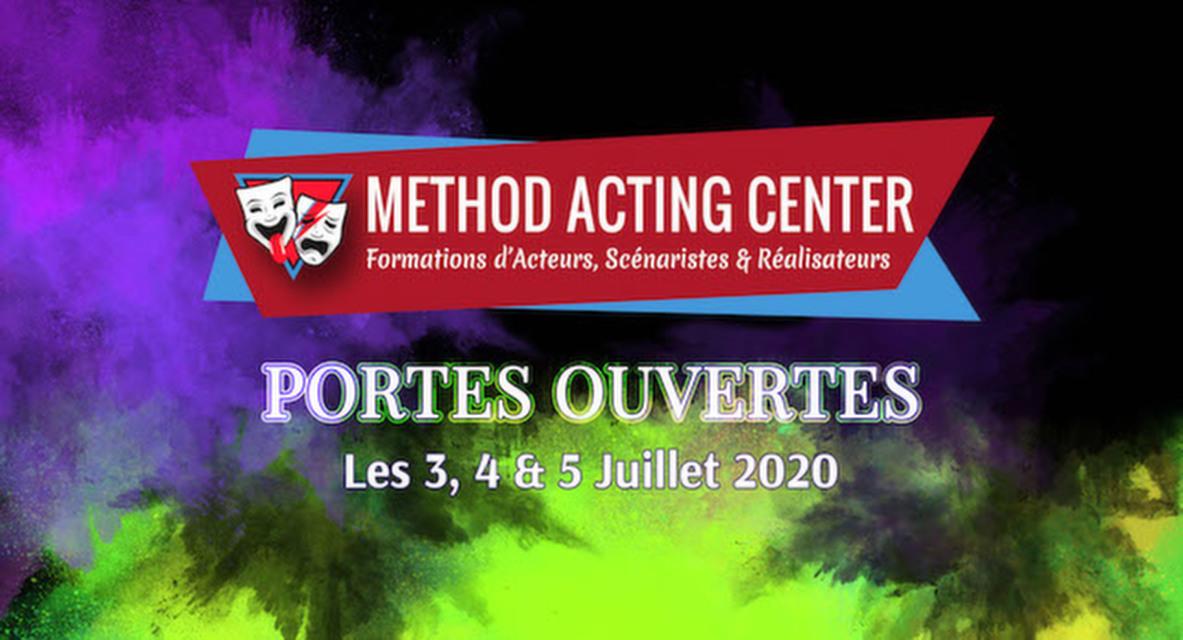 Portes Ouvertes Juillet 2020 - Method Acting Center<br /><br />Method Acting Center, formations d'Acteurs, Scénaristes & Réalisateurs pour le Cinéma & le Théâtre,<br />vous propose de participer à ses Portes Ouvertes, durant lesquelles vous pourrez tester gratuitement l'ensemble de ses ateliers en prévision de l'année 2020/2021 :<br /><br />LES 3, 4 & 5 JUILLET 2020<br />de 10h30 à 20h30,<br />au 93 avenue d'Italie, Paris 13e<br /><br />FORMATIONS 2019/2020 : <br />ACTORS STUDIO / ACTING in ENGLISH / SCÉNARIO & RÉALISATION /<br />ACTING on CAMERA / IMPROVISATION / CHANT / DANSE / COMÉDIE MUSICALE /<br />COURS D'ANGLAIS / ACTING pour ADOS / IMPRO pour ADOS<br /><br />Début des cours : Lundi 21 Septembre 2020<br />Pour chacune de ces formations, vous aurez la possibilité de tester gratuitement 1 ou plusieurs cours.<br /><br />NOTRE ENGAGEMENT QUALITÉ : <br />- Une approche bienveillante et pragmatique de la méthode<br />- Des cours non surchargés, la possibilité de passer très régulièrement vos scènes<br />- Des coaches en activité dans le milieu du cinéma et du spectacle<br />- Un suivi personnalisé et adapté à chaque profil d'acteur<br />- Une ambiance générale qui favorise l'entraide et non la compétition<br />- Une souplesse quand à vos obligations professionnelles<br />- Une équipe pédagogique à votre écoute pour vos doutes & questions<br />- Des salles adaptées à chaque type d'atelier<br />- La possibilité de répéter gratuitement vos scènes dans nos locaux<br /><br />INFO & RÉSERVATION : <br />- L'accès à tous les cours d'essais est libre et gratuit, seule compte votre motivation !<br />- Pour tous les cours d'essais, merci de penser à réserver en ligne :<br />https://www.methodacting.fr/portes-ouvertes-2020/<br /><br />CONTACT : <br />06 07 41 41 25<br />contact@methodacting.fr<br />www.methodacting.fr