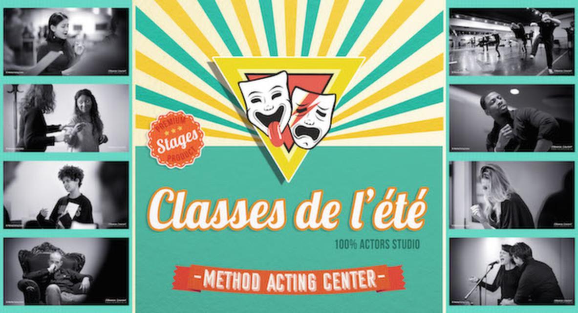 Classes de l'Eté- Method Acting Center<br />Juillet & Août 2019<br /><br />Les Classes de l'été… C'est quoi ?<br />Des initiations courtes mais intensives avec des outils pédagogiques précis et concrets, spécifiques à chaque discipline. Il est possible de prendre 1 ou plusieurs modules.<br /><br />Classes :<br />ACTORS STUDIO Initiation, Scènes A, Scènes B, Face Caméra<br />ACTING in ENGLISH Travail de scènes, Cours d'Anglais<br />SCÉNARIO & RÉALISATION<br />IMPROVISATION<br />YOGA<br />CHANT / DANSE / COMÉDIE MUSICALE<br />ACTING pour ADOS / CHANT pour ADOS<br /><br />& La Masterclasse (Nouveau) :<br />STAN ou LE SOLFÈGE DE L'ACTING avec David Barrouk<br />Explorez notre manuel de la méthode Actors Studio d'une façon originale et innovante à travers des exercices du livre et des débats autour de la méthode, du travail et du rôle de l'Acteur au Cinéma. <br />***<br /><br />C'est quand ?<br />Du 22 au 28 JUILLET + Du 5 au 11 AOÛT 2019<br />de 15h00 à 20h00,<br />93 avenue d'Italie, Paris 13e<br /><br />Pour qui ?<br />Pour toute personne souhaitant faire des stages de courte durée dans le but d'intégrer nos formations d'Acteurs, Scénaristes & Réalisateurs ou tout simplement, dans l'idée de partager un bon moment dans l'été ! N'hésitez pas à nous consulter si vous avez besoin de conseils sur le choix des modules.<br /><br />Combien ça coûte ?<br />De 1 à 3 modules : 30€ par module // De 4 à 9 modules : 25€ par module // De 10 modules à + : 290€ pour le PASS Classes de l'été (accès à tous les modules, dans la limite des places disponibles*)<br /><br />Comment je réserve ?<br />En ligne, par CB ou compte Paypal :<br />https://www.methodacting.fr/classes-de-lete/<br /><br />*Pour les personnes ayant pris le PASS Classes de l'été, il est possible de participer 2 fois au même type de module, mais il sera sur liste d'attente lors de sa seconde réservation. Chaque PASS est nominatif.<br /><br />CONTACT : <br />06 07 41 41 25<br />contact@methodacting.fr<br />https://www.meth