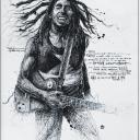 "Artwok of ""Bob marley"" , Gribouillage d'artiste, 60x80cm"