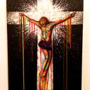 """Color your Jesus """"canvas 90x70, acryliques, aérographe, aerosols"""""""