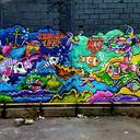 Wall in Villejuif - 8mx3m - Du chaotique à l'aquatique