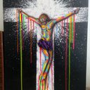 """Color your Jesus """" Canvas 90x70, Acryliques, Aérographe, Aérosols, posca"""""""