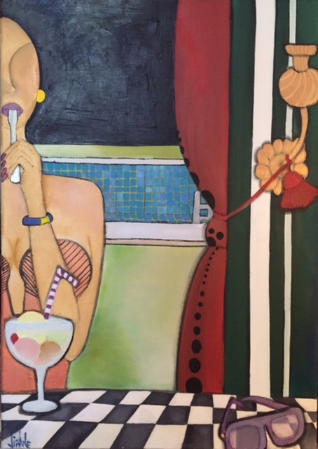 Full Empty Long Green Room 1- Triptych 50x65cm : Oil on canvas