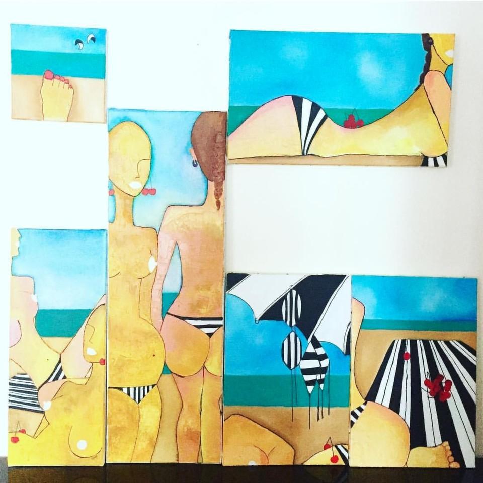 Preganant on Beach - Serie de 6 tableaux l'huile sur toile