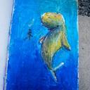 Une baleine envoutée<br />Craie grasse sur papier a5