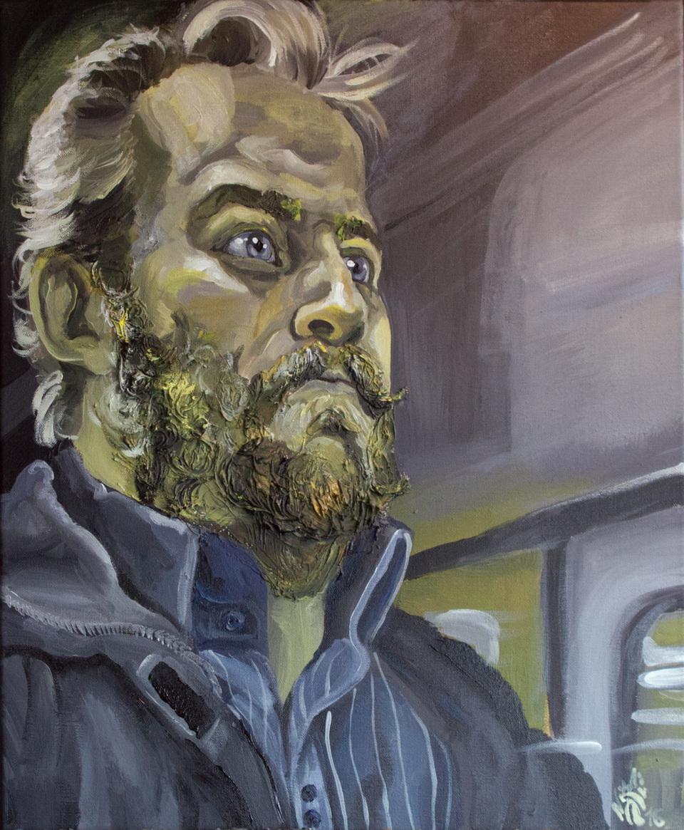"""Dernier né de la série Deutéranopie """"Le train entre en gare"""" <br />Acrylique sur toile de lin format 46 x 55 cm<br />(Que de barbus sur Paris en ce moment ! :-))<br />Qu'en dites-vous ?"""