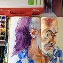 Très petites vacances et beaucoup d'heures passées dans le train, accompagnée de mon aquarelle !