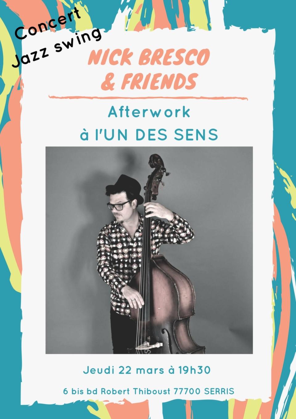 Concert afterwork jazz swing à l'Un Des Sens jeudi 22 mars 2018 à 19h00 avec Nick Bresco au chant et contrebasse, Roger Deroeux au piano et Charles Charlie Benarroch à la batterie. <br />#afterwork #concertjazz #liveconcert