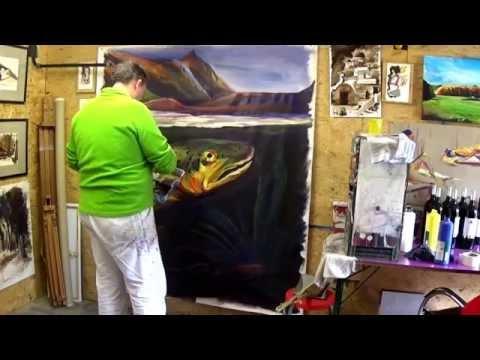 Performance artistique d'un saumon sur toile en 2 heures (160 x 200 cm) HAUTON STEPHANE
