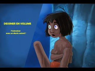 DESSINER en VOLUME avec Mowgli et Kaa ( livre de la jungle) Photoshop