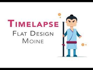 Adobe Illustrator - Timelapse - Personnage Moine flat design