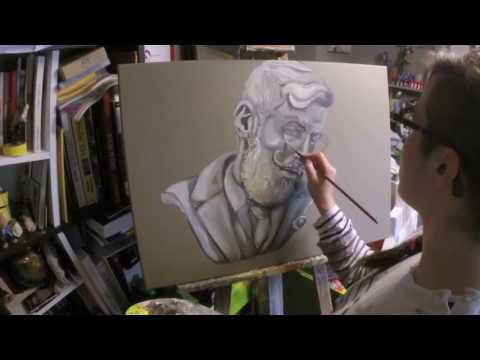 Moustachu d'albâtre et bois - Live painting Time lapse