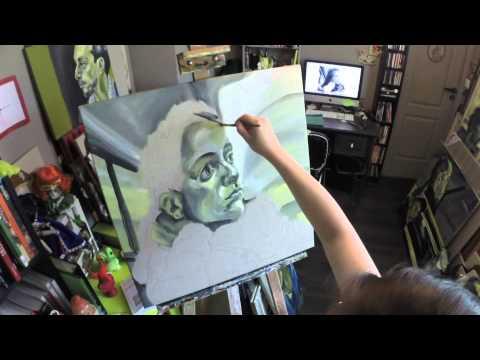 Fille à la valise deutéranopie - Time lapse - painting